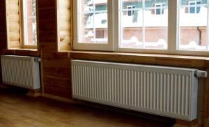 Радиаторы в доме из брусьев