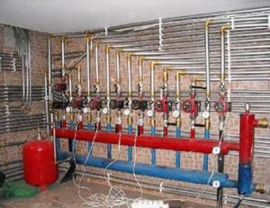Система отопления с подключенными приборами